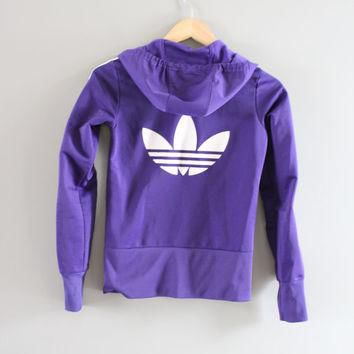 Adidas Hoodie Trefoil Big Logo Purple Hooded Sweatshirt Zip Up Hoodie Adidas Jacket Vi
