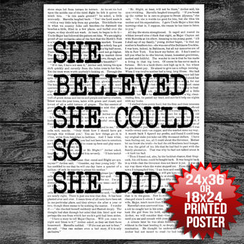 She Believed She Could So She Did Motivational Typography Poster Print