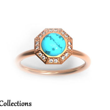 Personalized Engraved 14K Rose Gold Turquoise Cabochon and Diamond Halo Engagement Ring (Free Laser Engraving) Solitaire, Turquoise, Rose