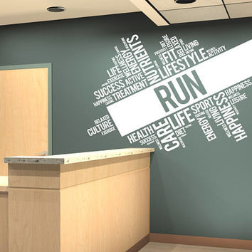 Run Fitness Wall Decal, Run Health Inspirational Words Quote Wall Sticker, Run Motivation Interior Decor Art Mural Fit Lifestyle Decal se139