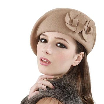 Women'S Hat- Felt French 3 Colors Beret Caps, Felt Pillbox Hat Fashion
