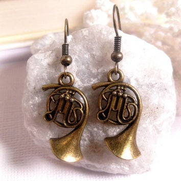 French Horn Music Earrings - Musical instrument