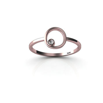 NEW Tiny 14K Rose Gold ring with a diamond Knuckle ring stackable