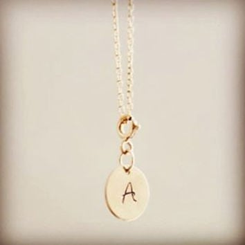 Add On Personalized Charm, Initial Disc, Add Initial Charm, 14k Gold Filled or Sterling Silver Round Charm, Engraved Monogram Initial Heart