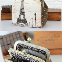 Paris Coin Purse Double Pockets Polka Dots Fabric Cream Brown Eifel Double Pockets Coin purse metal frame Coin Wallet Pouch coin purse