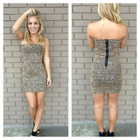Gold Sequin Fever Strapless Dress