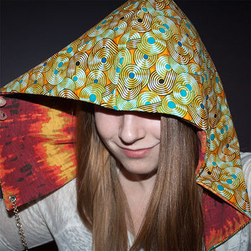 Festival hood - reversible with interchangeable chain - volcanic energy