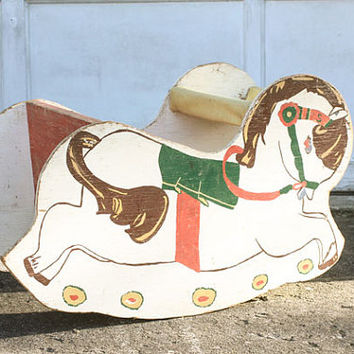Antique Rocking Pony, Rocking Pony Chair, Rocking Horse, Handpainted, Wooden, Vintage Horse, Antique Toy, Vintage Nursery, Old Fashioned