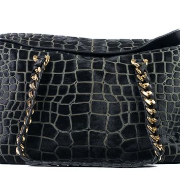 Roberto Cavalli Black Medium Pony Hair Croc Design Satchel Shoulder Bag