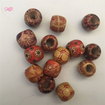 50Pcs Wooden Hair Beads for Dreadlocks  Big Hole Dreadlock Bead/Ring For Braiding Hair Extension