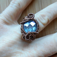 Faceted Aqua Aura Quartz Wire Wrap Ring Bead Wire Wrapped Ring Parawire Antique Copper Wire Ring Wire Wrapped Jewelry Handmade Size 7 1/2