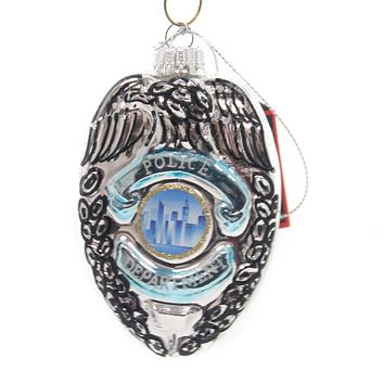 Holiday Ornaments POLICE BADGE Glass Officer Law Enforcement 80014.