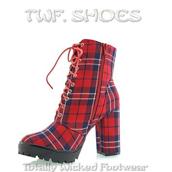 """Florance Red Plaid Lace Up 4"""" Block Heel Side Zipper Ankle Boots 7-11"""
