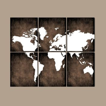 WORLD MAP Wall Art, CANVAS or Prints Bedroom Pictures, Grunge Effect, Brown Colors, Desk Office Decor, Library Room, Set of 6, Home Decor