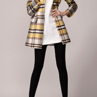 Doll Collar Drape Plaid Woolen Overcoat,Cheap in Wendybox.com