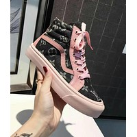 LV X Supreme New Popular Women Personality Classic Louis Vuitton Denim High Top Sport Shoes Sneakers Pink