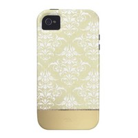 Elegant Light Gold Vintage Damask Pattern Case-Mate iPhone 4 Cases from Zazzle.com