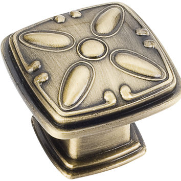 """1-3/16"""" Zinc Die Cast Square Decorated Cabinet Knob Various Finishes"""