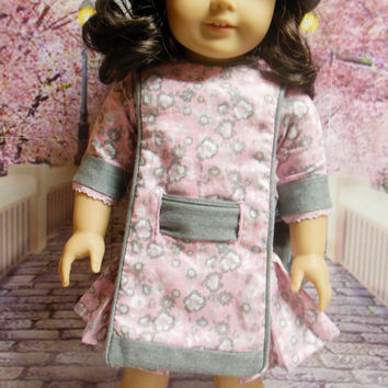 "Historical American girl doll clothes ""Pleated Blossoms"" Early 1900s pink & gray apron frock (18 inch) pattern by Eden Ava Couture"
