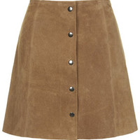 Suede Button Front A-Line Skirt - Tan