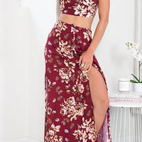 Red Vintage Floral Printed Crop Top and Maxi Skirt