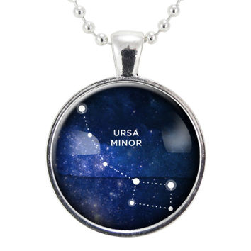 Ursa Minor Star Constellation Necklace, Science Jewelry, Homemade Astrology Pendant Necklace