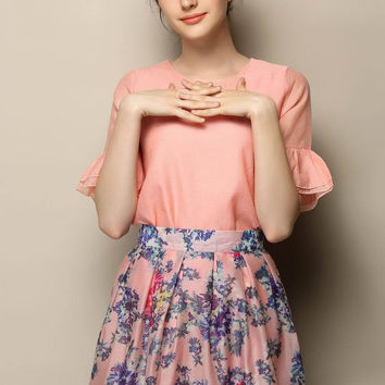 Half Sleeve Chiffon Blouse with Floral Mini A-Line Pleated Skirt