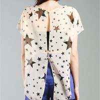 STAR SHEER OPEN BACK CHIFFON TOP
