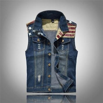 New Arrival Men's Denim Vest Jeans Fashion Pockets Vest Men Cowboy 5XL Sleeveless American Flag Patchwork Jacket For Men
