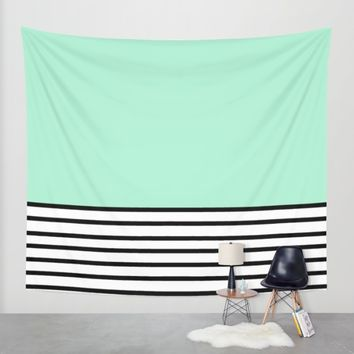 Fresh Mint Black and White stripes pattern Wall Tapestry by Xiari | Society6