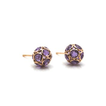 Tresor Collection - Amethyst Origami Sphere Ball Stud Earrings in 18K Rose Gold