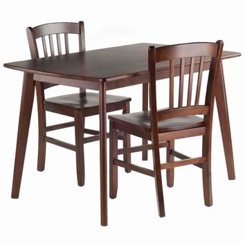 Shaye 3-PC Set Dining Table w/ Slat Back Chairs
