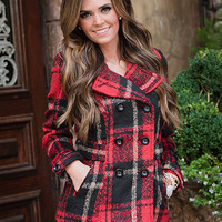 Going to the Cabin Red Plaid Coat CLEARANCE