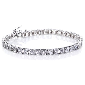 Annello Sterling Silver 1/2ct TDW Square Diamond Bracelet (H-I, I2-I3) | Overstock.com Shopping - The Best Deals on Diamond Bracelets