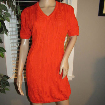 Vtg 80s 90s Coogi Sweater Dress / Coogi Australia / Orange Sweater Dress / Hipster Sweater Jumper Dress / Vtg Texture Sweater Dress