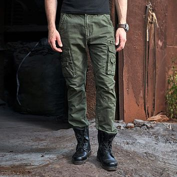 Cotton Military Pants Loose Multi Pockets Men Cargo Pants