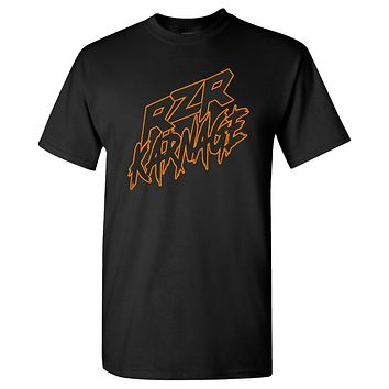 RZR Karnage Logo in Orange on a Black T Shirt