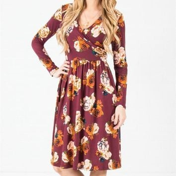 Wrap Pocket Midi Dress