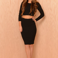 Knit Midi Pencil Skirt - Black