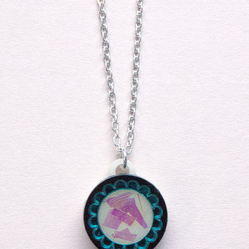 Mini Scalloped Circle Pendant Necklace in Teal by Rosa Pietsch