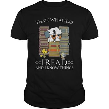 Snoopy Woodstock that's what I do I read and I know things Premium Fitted Guys Tee
