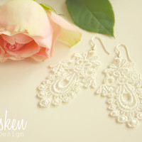 Bride Lace Earrings * Wedding * White Silver * Edwardian * Bridal Bridesmaid * Bride * Gift * Flower Petals * Bride Jewelry