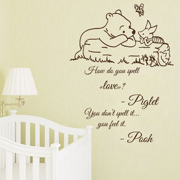 Wall Decals Winnie the Pooh Quotes How Do You Spell Love Piglet You Feel It Home Vinyl Decal Sticker Art Kids Nursery Baby Room Decor kk819