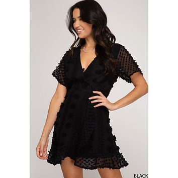 3D Applique Dress - Black