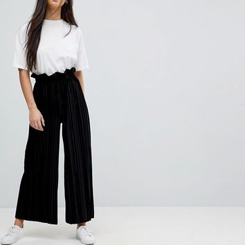 ASOS PETITE Velvet Pleat Pants With Paperbag Waist at asos.com