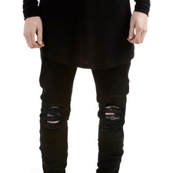 2016 New Black Ripped Jeans Men With Holes Super Skinny Famous Designer Brand Slim Fit Destroyed Torn Jean Pants For Male