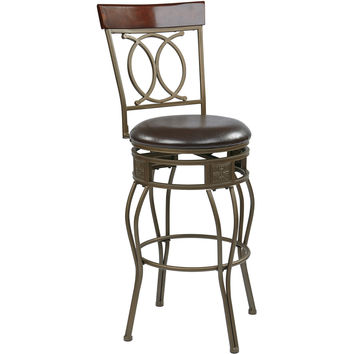 "OSP Cosmo 30"" Metal Swivel Barstool, Espresso Faux Leather"