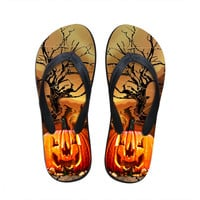 Sapato Feminino 3D Halloween Pumpkin Printing Home Slippers for Men Outdoor Designer Shoes Beach Flip Flops Male Flat Sandals
