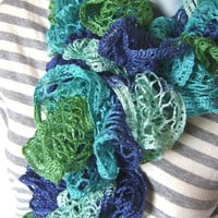 Woman's Crochet Sashay Green Multicolored Fashion Scarf