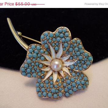 ON SALE BOUCHER Vintage Brooch Pin Turquoise Bead Enamel Pearl Flower Gold Plate